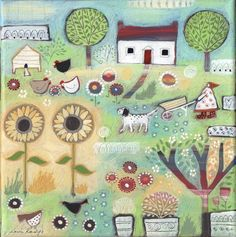 Sunflower Garden - Louise Rawlings http://www.louise-rawlings-art.co.uk/