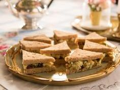 """Curried Chicken Salad Tea Sandwiches (High Tea with a Twist) - Tiffani Thiessen, """"Dinner at Tiffani's"""" on the Cooking Channel. Tea Sandwiches, Soup And Sandwich, Sandwich Recipes, Salad Sandwich, Pizza Sandwich, Sandwich Ideas, Turkey Sandwiches, Chicken Curry Salad, Chicken Salad Recipes"""