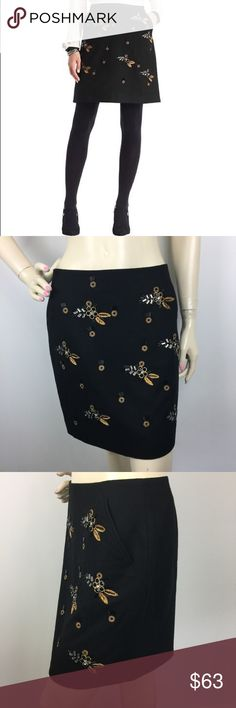 "Ann Taylor Loft Beaded Bouquet Black Skirt 2 CONDITION: New without tags. MATERIAL: 46%Wool 31% Polyester 23% Rayon Lining: 100% Acetate  • Side Pockets  • Back blind Zip. (Please note that the measurements are approximate) ALL MEASUREMENTS ARE TAKEN WITH GARMENT LYING FLAT: WAIST: 15"" HIPS: 19"" LENGHT: 17.5"" Ann Taylor Skirts Mini"