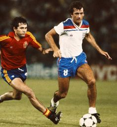 Spain 0 England 0 in 1982 in Madrid. Trevor Francis drives forward at the Bernabeu in Round 2, Group B at the World Cup Finals.