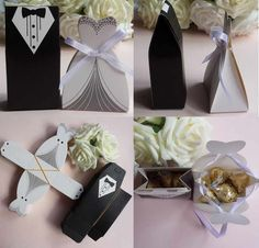 Buy 50 Pcs Tuxedo Dress Groom Bridal Wedding Party Favor Gift Ribbon Candy Boxes at Wish - Shopping Made Fun Budget Wedding Favours, Homemade Wedding Favors, Inexpensive Wedding Favors, Candy Wedding Favors, Wedding Gifts For Guests, Best Wedding Gifts, Unique Wedding Favors, Bridal Gifts, Wedding Centerpieces
