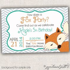How Does a Fox Party Personalized Birthday Invitation (Double Sided Option) - Forest Animals - Fox Printable on Etsy, $12.00