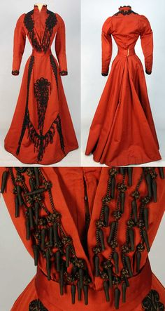 Silk afternoon dress, ca. 1896. Two pieces. Boned bodice with tucked upper sleeve trimmed in fancy black cord loops with knots and tassels. Skirt has decorated front panel, hem bound in black velvet, glazed cotton lining.