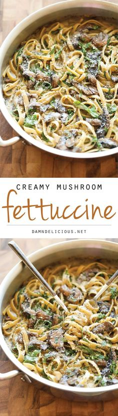 Mushroom Fettuccine Creamy Mushroom Fettuccine - The creamiest mushroom alfredo sauce you will ever have - a sauce so good, you'll want to slurp it with a spoon!Creamy Mushroom Fettuccine - The creamiest mushroom alfredo sauce you will ever have - a sauce Yummy Recipes, Vegetarian Recipes, Cooking Recipes, Yummy Food, Healthy Recipes, Tasty, Recipies, Good Pasta Recipes, Sauce Recipes
