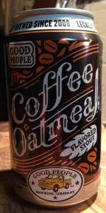 Coffee Oatmeal Stout is a Oatmeal Stout style beer brewed by Good People Brewing Company in Birmingham, AL. 92 out of 100 with 247 ratings, reviews and opinions.