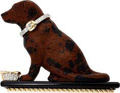 Estate Jewelry:Brooches - Pins, Obsidian, Diamond, Black Onyx, Gold Brooch, Valentin Magro. ...