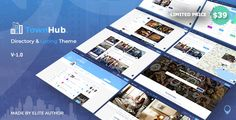 """A """"Townhub – Directory & Listing Template"""" is perfect if you like a clean and modern design. Townhub a listing directory template that will help you create, manage and monetize a local or global directory site. Wordpress Template, Tema Wordpress, Premium Wordpress Themes, Wordpress Plugins, Php, Layout, Different House Styles, Open Street Map, Html Website Templates"""