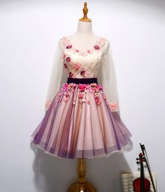 Long Sleeve Hand Made Flower Cute Homecoming Prom Dresses 0f7f24a026a37