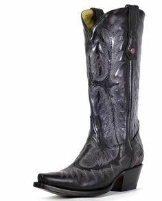 Women's Black Tall Fancy Stitch Boot - G1911
