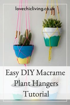 Try this easy macrame plant hanger and get hooked on creating your own succulent planters & hangers! If you're always looking for new succulent planter ideas, give this easy macrame hanger tutorial a go! Lots of easy macrame hanger ideas, free macrame patterns, macrame knot patterns, modern macrame ideas and more! They make fantastic indoor plant hangers and a cute addition to any room! #lovechicliving Succulent Planter Diy, Planter Ideas, Diy Planters, Succulents Diy, Indoor Plant Hangers, Macrame Plant Hangers, Indoor Plants, Free Macrame Patterns, Knot