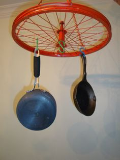 Bicycle Wheel Pot Rack by myFunkieJunk on Etsy, $45.00