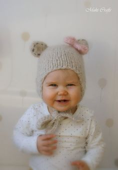 Knitting pattern knit baby hat pattern knitting pattern hat knitting pattern bear hat with earflaps and a bow nalle baby toddler child sizes dt1010fo