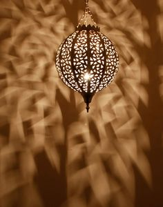 Silver Round Moroccan Ceiling Lamp