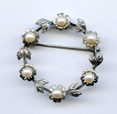 Vtg Mikimoto Pearl Silver Wreath Floral Diamond Cut Brooch Pin Japan Clamshell #Mikimoto
