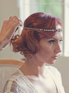 Love this 1920's inspired updo w the jewel head piece