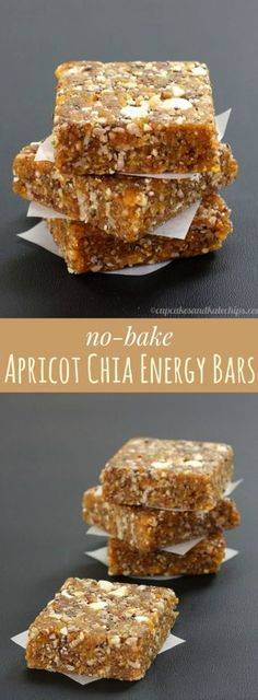 No-Bake Apricot Chia Energy Bars are a quick, easy, healthy snack. No-Bake Apricot Chia Energy Riegel sind ein schneller, einfacher und Vegan Desserts, Raw Food Recipes, Gluten Free Recipes, Healthy Recipes, Healthy Breakfasts, Protein Recipes, Vegan Cake, Chicken Recipes, Dinner Recipes