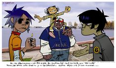 "So the band decided to go for a walk but, everyone had their own ideas about ""What is a walk"". Russel and Noodle were going to Pokeland...Murdoc and 2D argued about something..."
