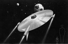 Industrial Designer/Automobile stylist Alex Tremulis' rendering of a flying saucer headed towards Earth, 1948-50