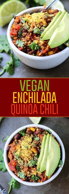 Time to get out the slow cooker! You won't miss the meat in this thick and hearty vegan enchilada quinoa chili. Gluten-free!
