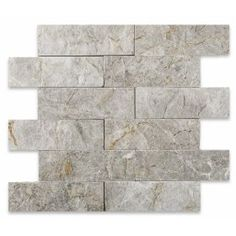 2 X 6 split & faced mosaic tiles online available at our store. Buy Tundra Grey ( Atlantic Grey ) marble mosaic tiles at a very reasonable price. Visit us now for more tiles collection. Fireplace Tile Surround, Fireplace Redo, Marble Fireplaces, Fireplace Surrounds, Fireplace Design, Fireplace Tiles, Marble Mosaic, Mosaic Tiles, Tiles Online