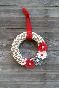 Chevron Wreath, Winter Wreath, Burlap Wreath, Holiday Wreath, Red and White Wreath Holiday Burlap Wreath, Mesh Christmas Tree, Chevron Burlap Wreaths, Burlap Flowers, Burlap Christmas, Autumn Wreaths, Holiday Wreaths, Wreath Burlap, Chevron Christmas