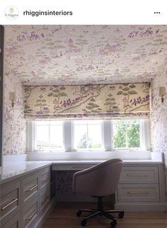Love this cozy home office! #rhigginsinteriors #lizahathawaymatthews #customcabinetry #homeoffice #workspace #desk #wallcovering #romanshades #customwindowtreatments #interiordesign