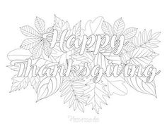 Happy Thanksgiving Fall Coloring Page