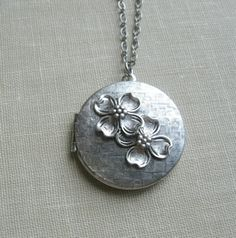 Dogwood locket necklace Spring flowers vintage
