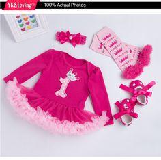 9cdfc0b196ec7d US $12.25 30% OFF|Prinses Baby Meisjes 4 stks Sets Mouw Katoen Rromper Rose  Rood Ruche TUTU Jurk Baby Kleding Vestidos 1 Verjaardag jurk in Prinses Baby  ...