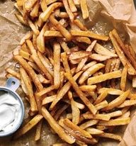 These are the best fries weve ever had! Gwyneth Paltrows No-Fry Fries, just cut up your potatoes and place them in a bowl of cold water, then dry them off and toss them with olive oil, place them on a cookie sheet and sprinkle with sea salt, then bake at 450 for about 25 minutes, turning occasionally.