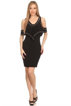 f7ee525199 Sexy Off Shoulder Rhinestone Trim Dress