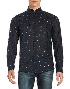Selected Homme Printed Cotton Sportshirt Men's Dark Sapphire Large