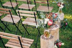 timber chairs / tree stumps / log slices / perth wedding / australian native floral arrangements / outdoor ceremony / core cider house / winter wedding / rustic glamour styling  Rustic Winter Orchard Wedding Inspiration featured on Polka Dot Bride captured by Earthbound Images http://www.earthboundimages.com.au