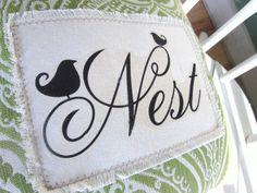 bird nest decor | Shabby chic pillow, nest, bird pillow,shabby chic, farmhouse decor ...