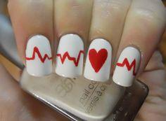 Heartbeat Nails - great for nurses or awareness - fun!