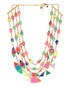 Multicolor Stones Layered Necklace - $76