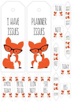 pics and cheesecake: Paper Issues - Free Printable Planner Fox