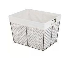 Rustic Espresso Metal Chicken Wire Basket White Lined Storage Organizer Set of 2 #Unbranded