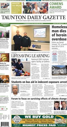 The front page of the Taunton Daily Gazette for Wednesday, March 25, 2015.