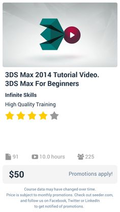 3DS Max 2014 Tutorial Video. 3DS Max For Beginners | Seeder offers perhaps the most dense collection of high quality online courses on the Internet. Over 13,800 courses, monthly discounts up to 92% off, and every course comes with a 30-day money back guarantee.