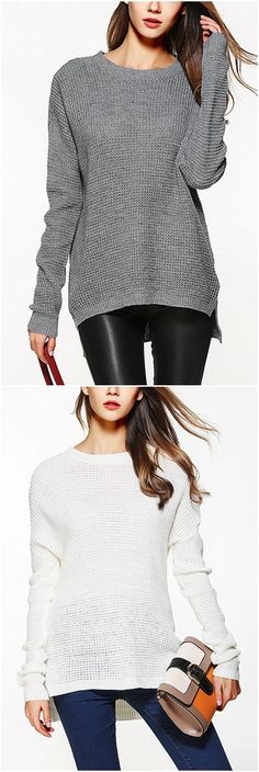 Grey Round Neck Long Sleeves Jumper US$19.95