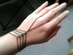 Turquoise caged slave bracelet bohemian hand chain