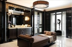 76 Fantastic Truly Masculine Bathroom Décor Ideas: 76 Fantastic Truly Masculine Bathroom Décor Ideas With White Black Wooden Washbasin And Mirror And Brown Sofa Pillow And Ceramic Floor Best Interior Design, Bathroom Interior Design, Interior Exterior, Interior Design Inspiration, Classic Interior, Masculine Bathroom, Diy Home, Home Decor, Decoration