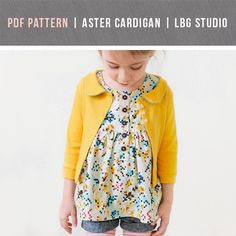 PDF SEWING PATTERN The Aster Cardigan features 3/4 length sleeves and a cute rounded collar with two options - regular and faux piping. The pattern...