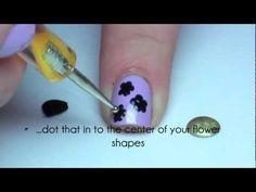Video Tutorial: Simple Flower Nail Art - The Nailasaurus Nail Art Design Gallery, Simple Nail Art Designs, Easy Nail Art, Fancy Nails, Trendy Nails, Gel Nail Polish Colors, Gel Polish, Birthday Nail Art, Uk Nails