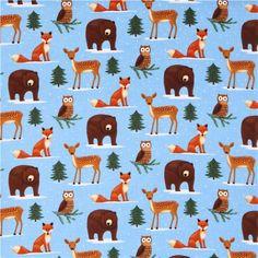 blue Winter Woodland Animals flannel fabric Timeless Treasures