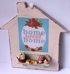 ♡ ♡ Shabby chic home sweet home mint pink por ManthaCreaMiniatures