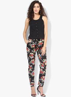 a084e33455a4 Buy MIAMINX Black Floral Printed Jumpsuit online