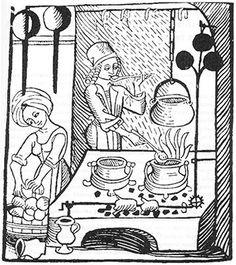 Copy Of A Woodcut Showing Man And Woman In Period Costume Medieval Kitchen