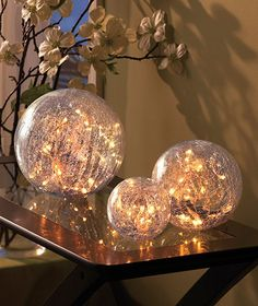 Create a luminous ambiance in a room with this Set of 3 Lighted Glass Balls. You can also use this unique handmade set of ornamental balls to shed a little light on a specific area. A string of 60 white micro light bulbs comes with the crackle glass ball Diy Christmas Lights, Christmas Diy, Christmas Decorations, Holiday Decor, Christmas Items, Christmas Ornaments, Fairy Bedroom, Bedroom Decor, Theme Bedrooms